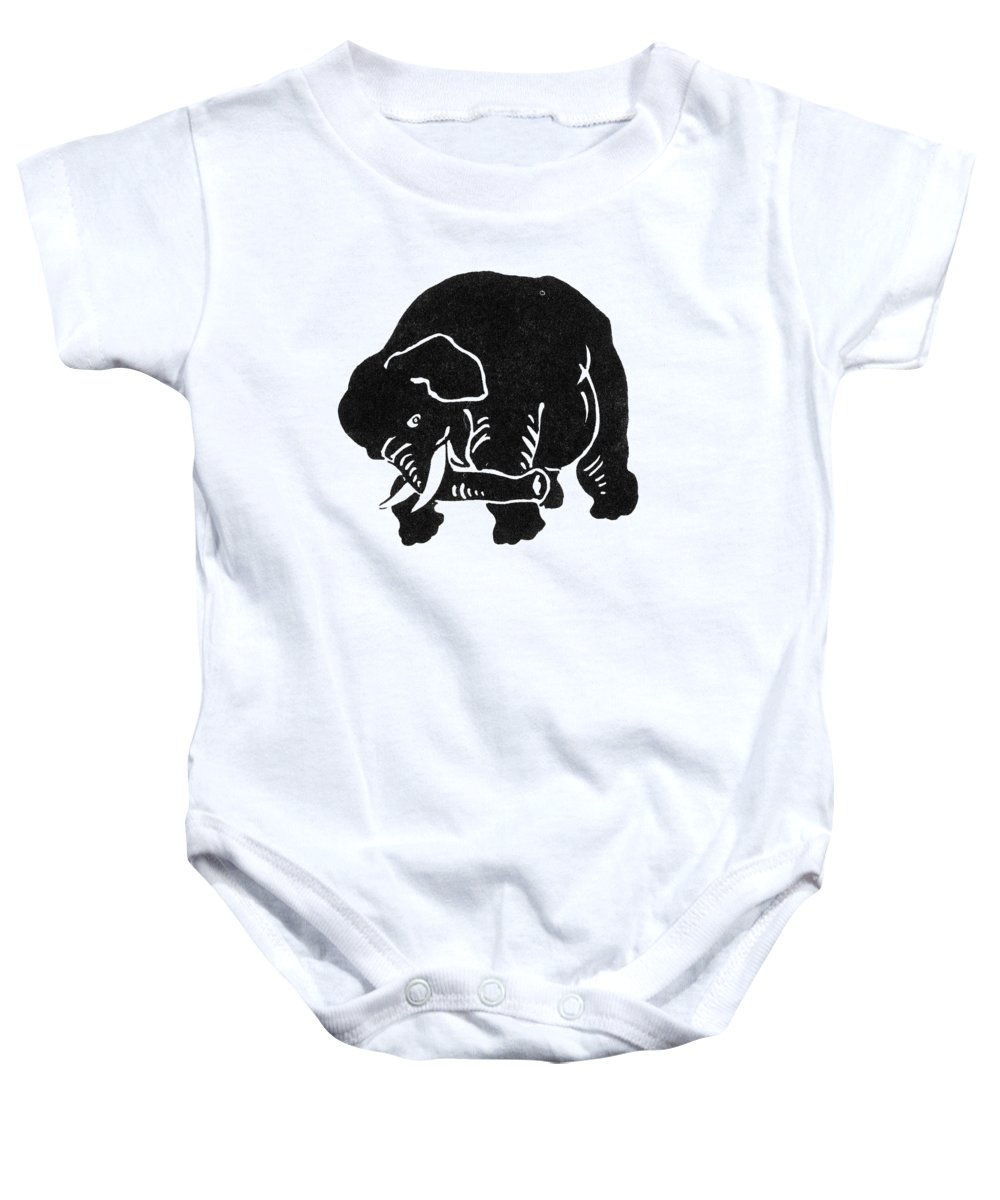 1874 Baby Onesie featuring the photograph Republican Elephant, 1874 by Granger