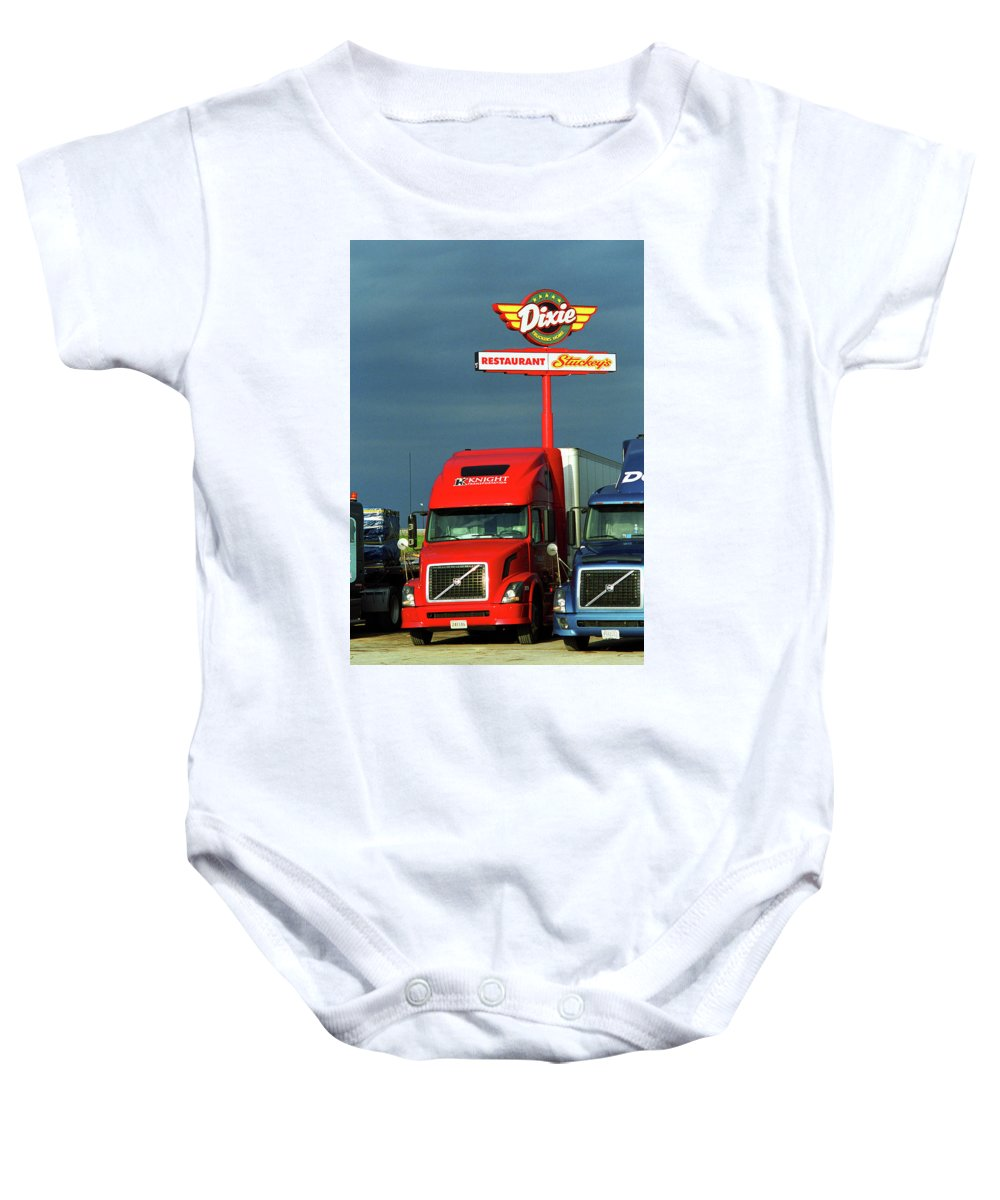 66 Baby Onesie featuring the photograph Route 66 - Dixie Truckers Home by Frank Romeo