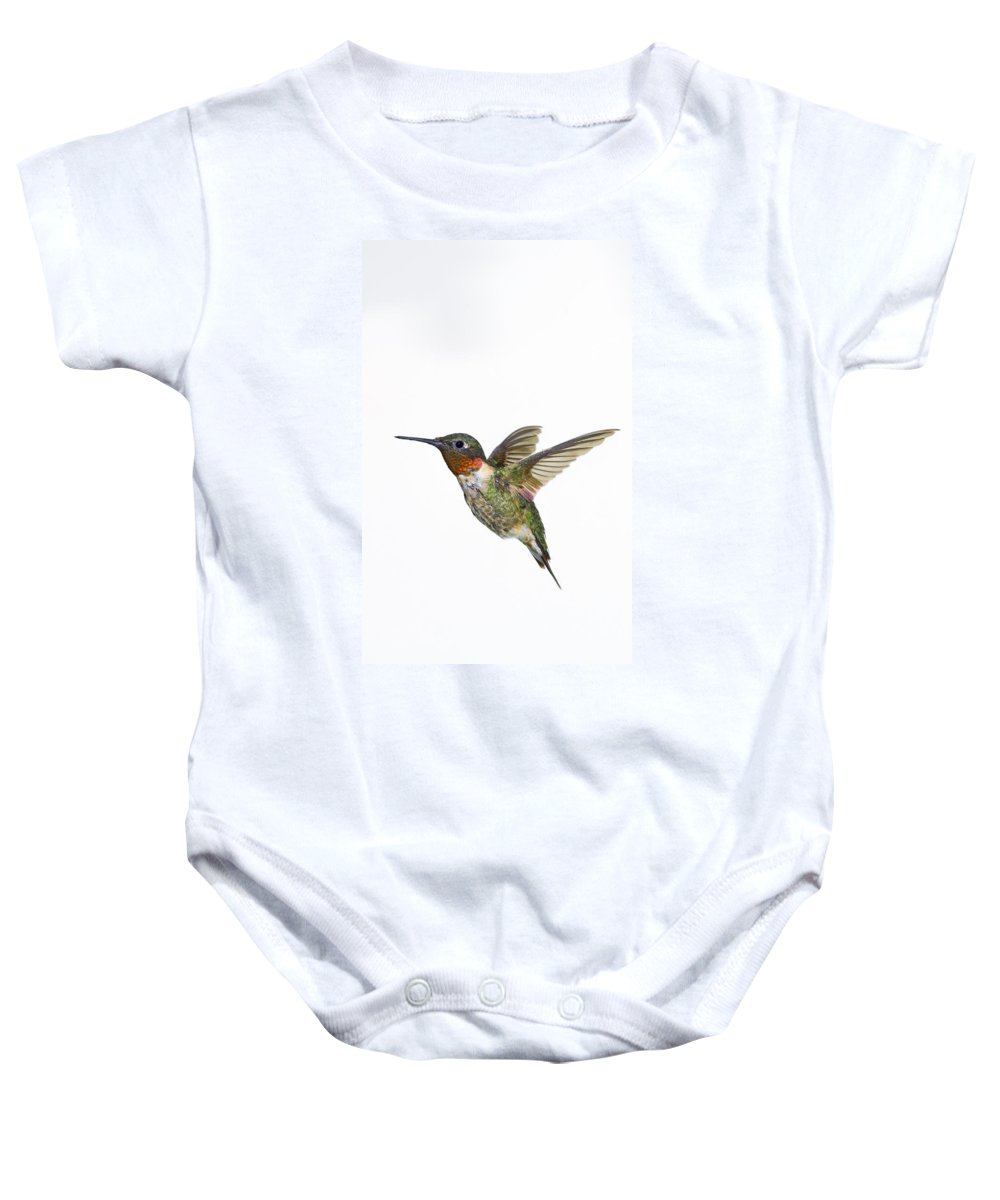 Animal Baby Onesie featuring the photograph Ruby-throated Hummingbird Archilochus by Thomas Kitchin & Victoria Hurst