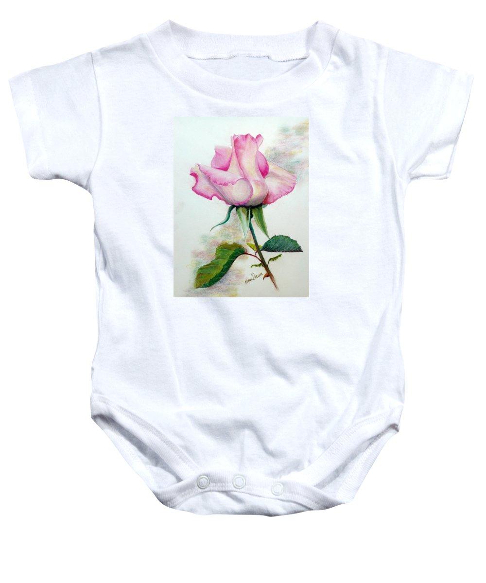 Rose Pastel Paintings Baby Onesie featuring the pastel So Pink by Karin Dawn Kelshall- Best
