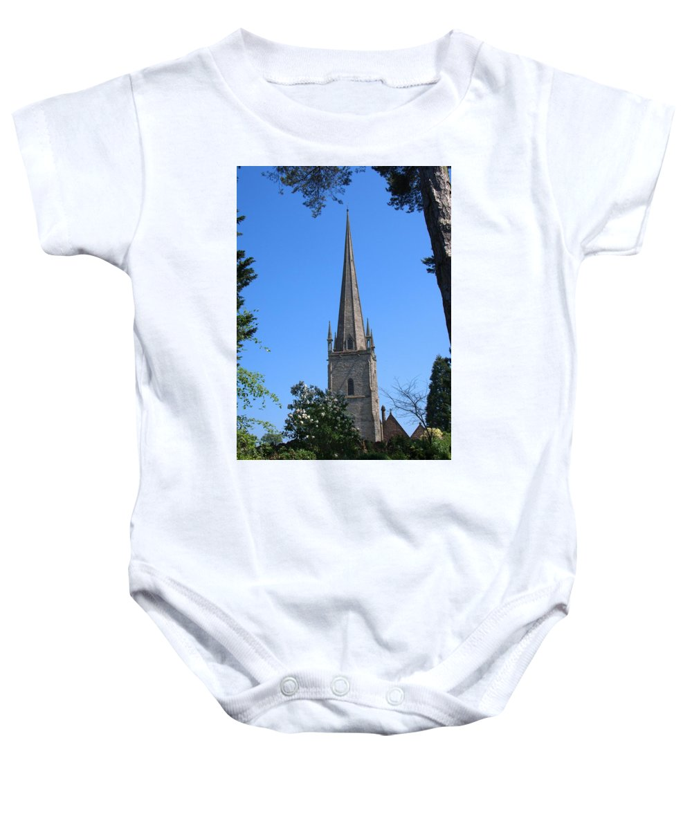 St Mary The Virgin Baby Onesie featuring the photograph St Mary The Virgin Ross-on-wye by Chris Day