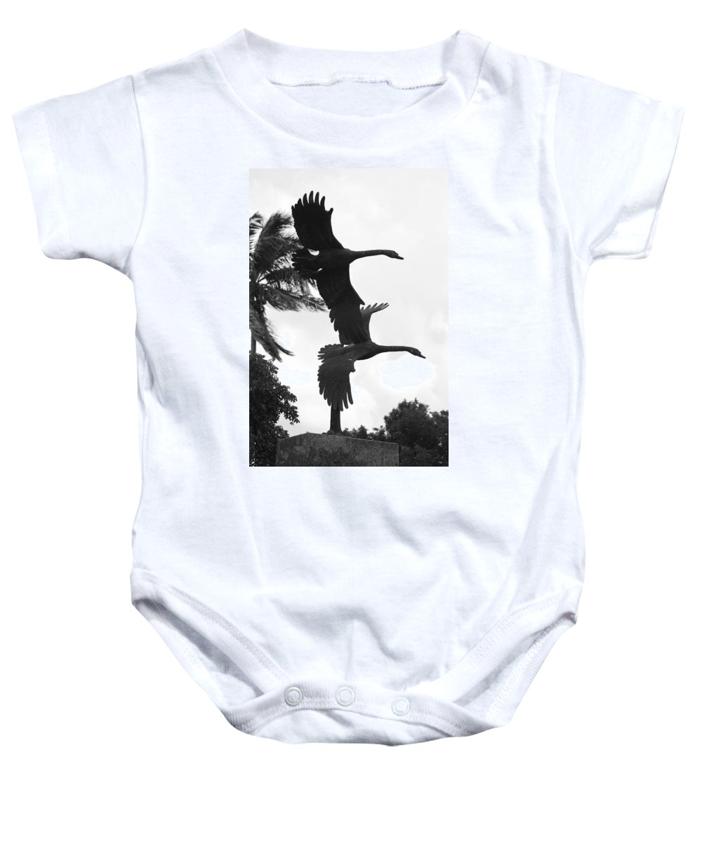 Black And White Baby Onesie featuring the photograph Stone Birds by Rob Hans