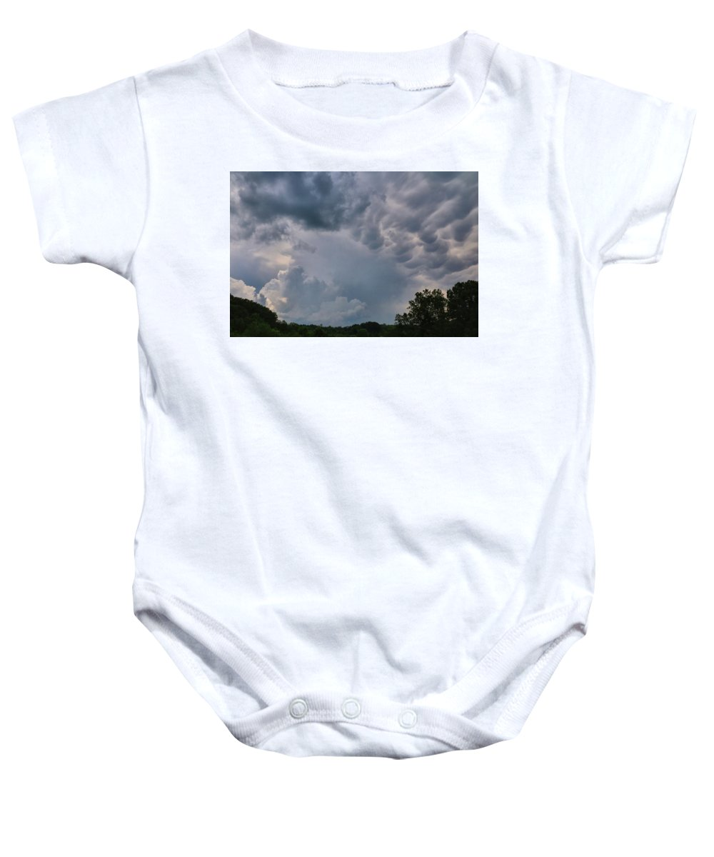 Storm Baby Onesie featuring the photograph Storm Cell by Kathryn Meyer