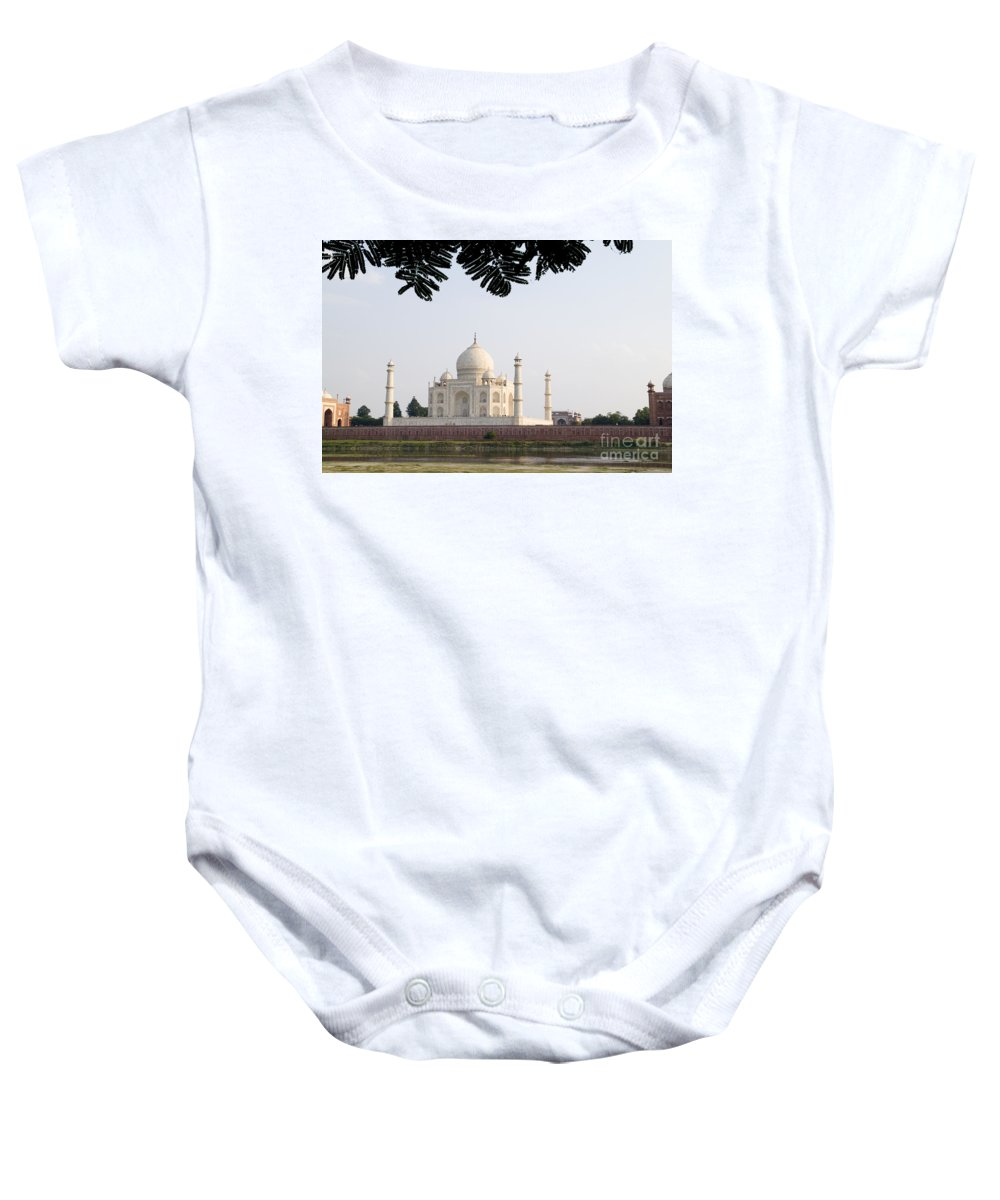 Architectural Baby Onesie featuring the photograph Taj Mahal by Bill Bachmann - Printscapes