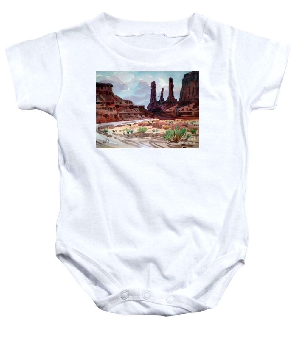 Monument Valley Baby Onesie featuring the painting Three Sisters by Donald Maier