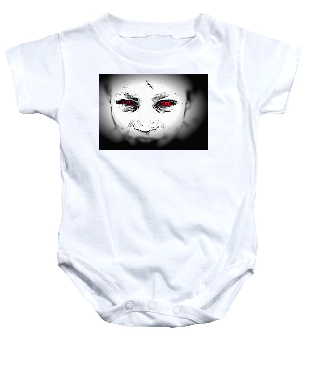 Eyes Face Looks Black And White Red Baby Onesie featuring the digital art Untitled by Veronica Jackson