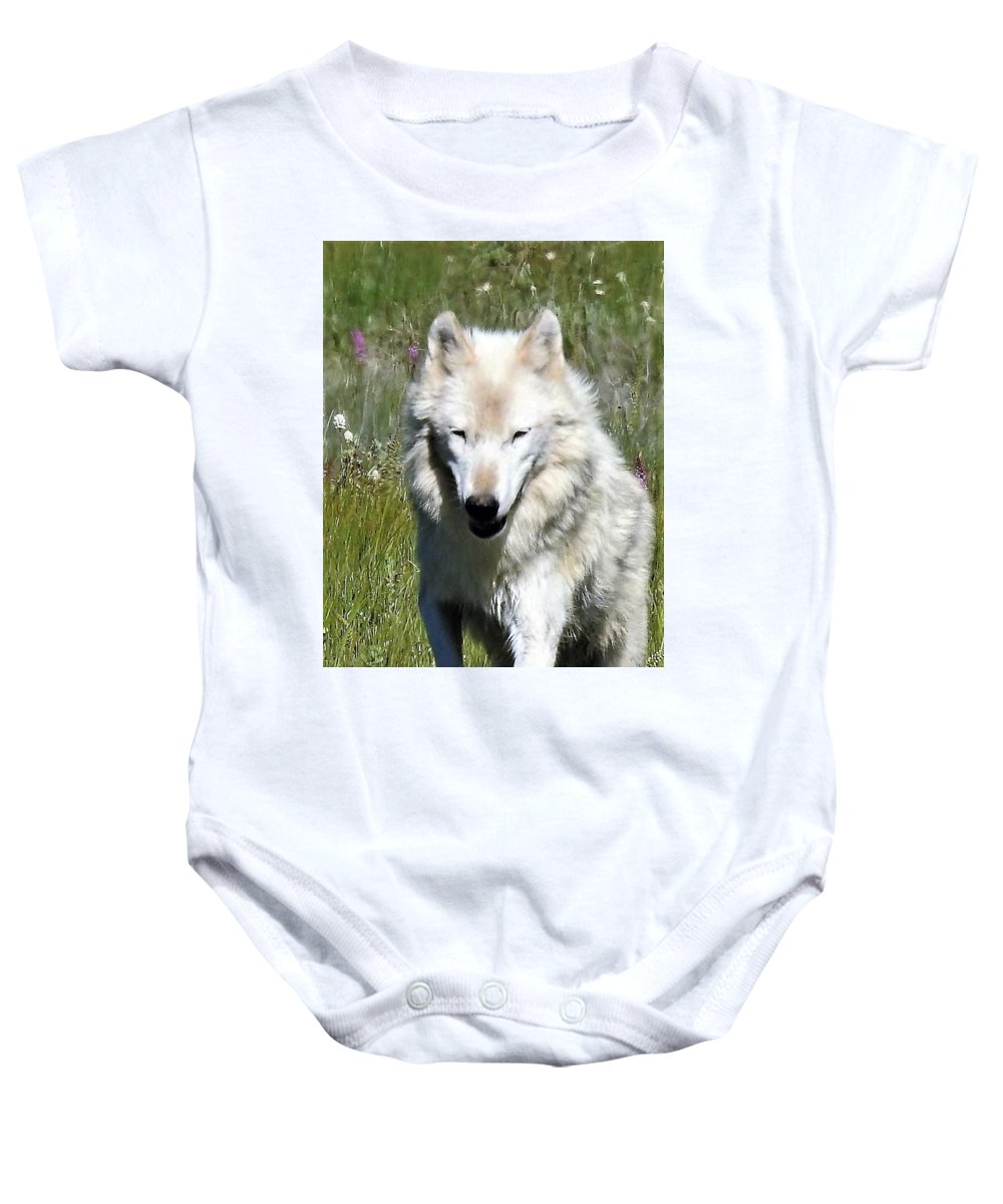 Wolf Baby Onesie featuring the photograph White Lady by Nicole Belvill