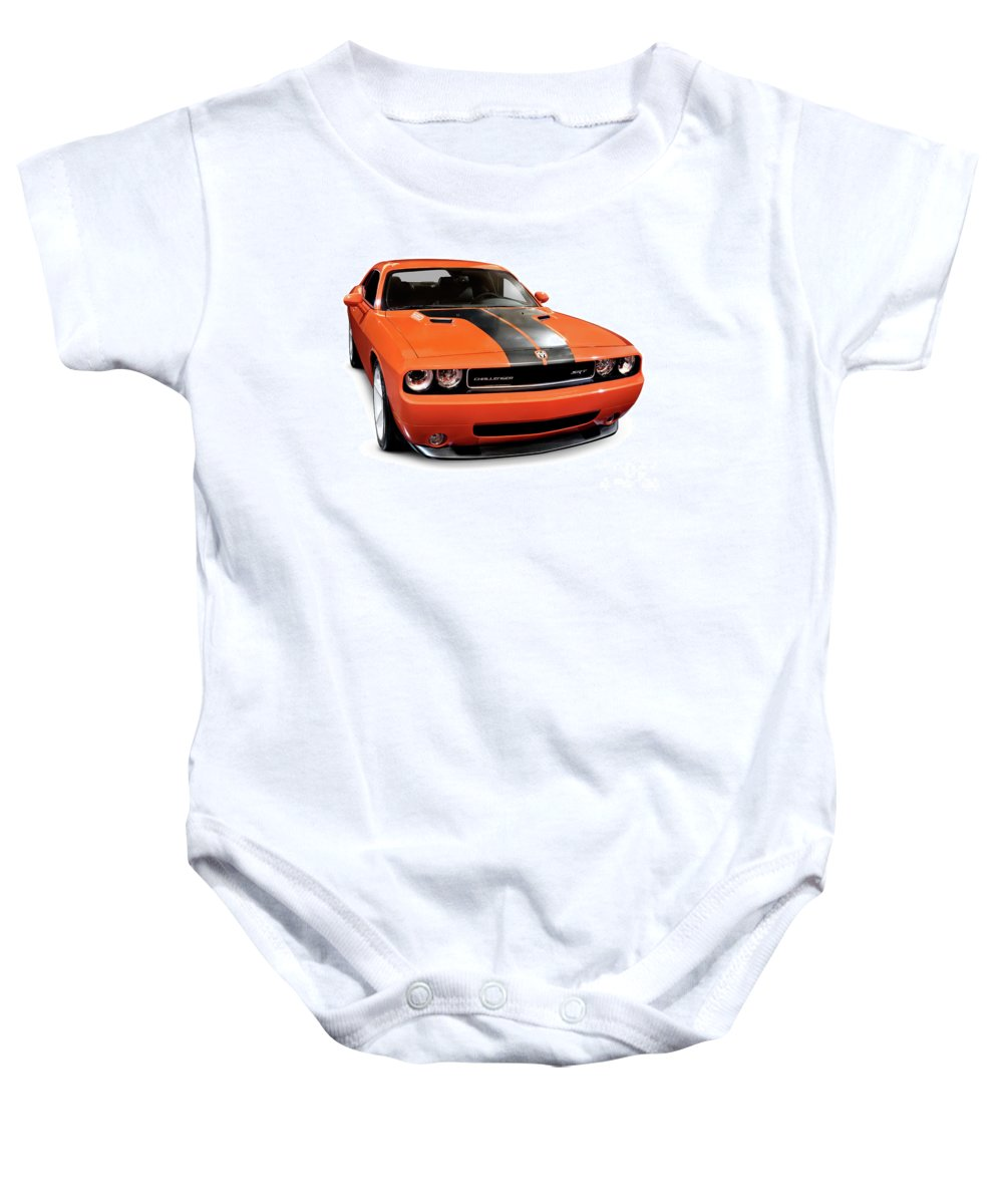 Dodge Challenger Baby Onesie featuring the photograph 2008 Dodge Challenger Srt Muscle Car by Oleksiy Maksymenko