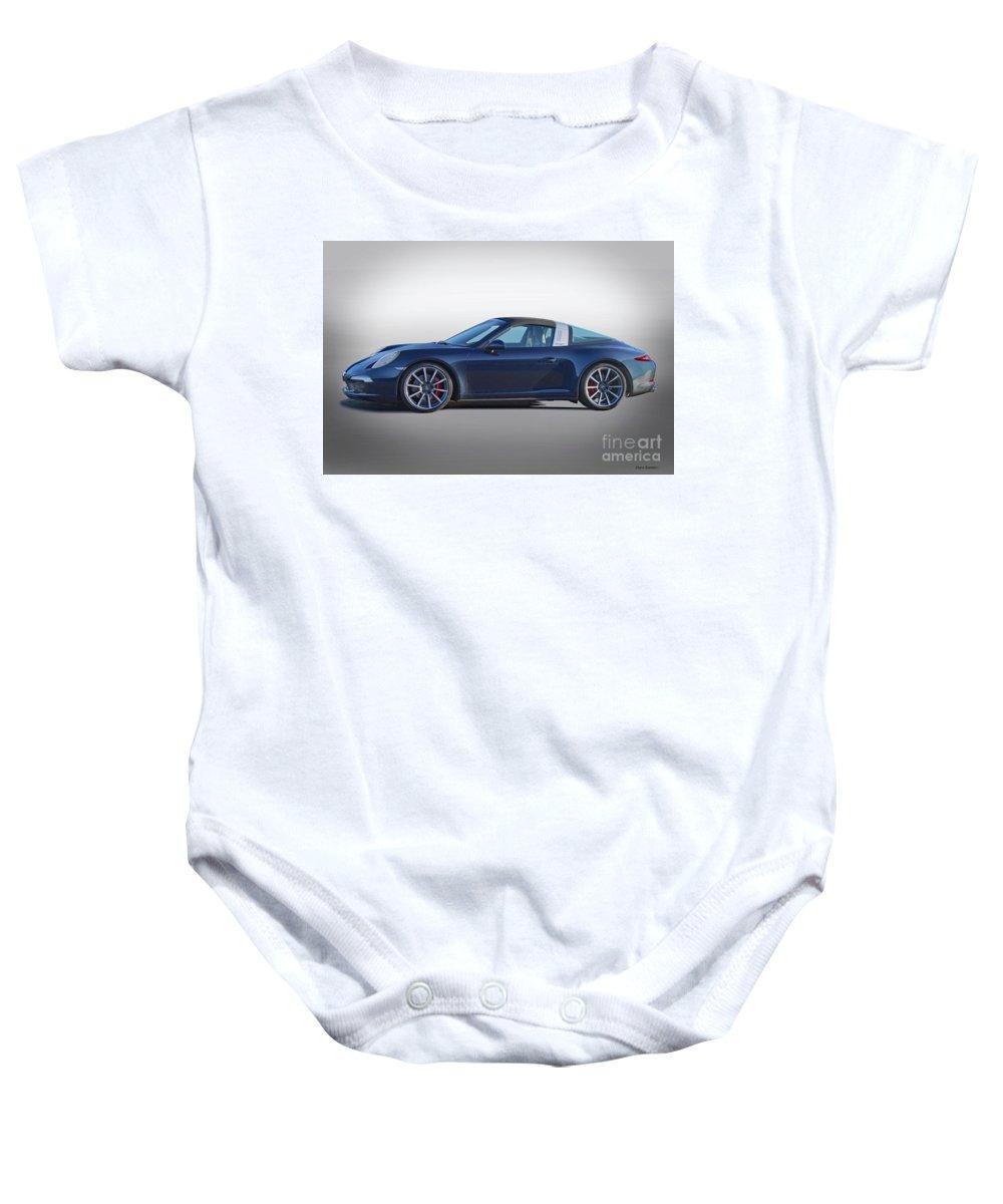Auto Baby Onesie featuring the photograph 2014 Porsche 911 Targa 4s 'studio' by Dave Koontz