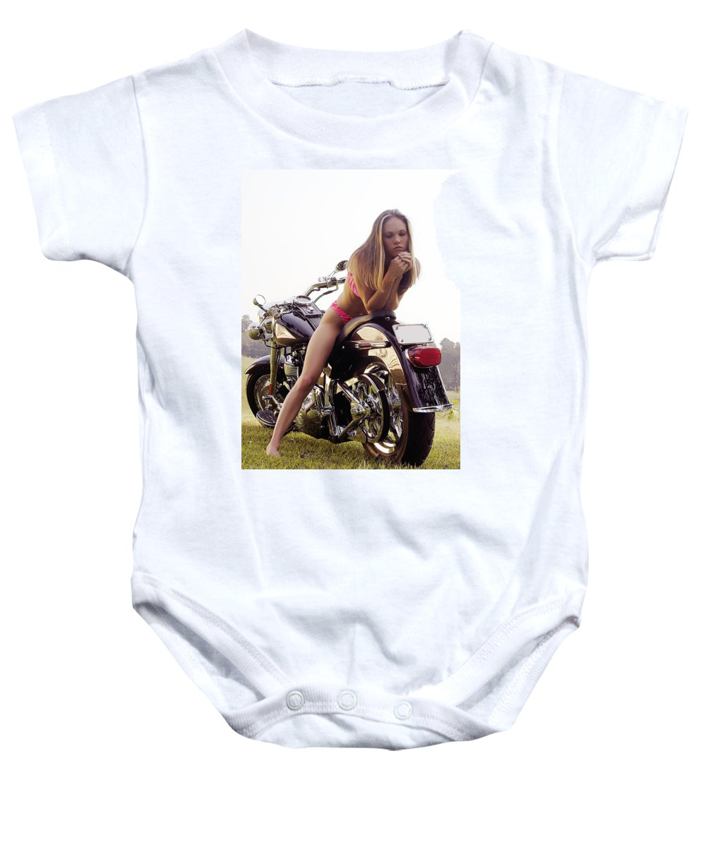 Baby Onesie featuring the photograph Bikes And Babes by Clayton Bruster