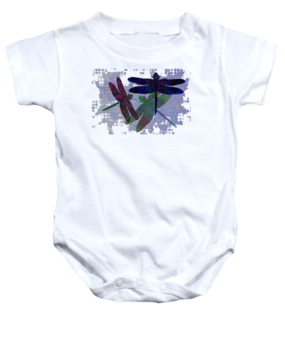 Dragonfly Baby Onesie featuring the painting 3 Dragonfly by Jack Zulli