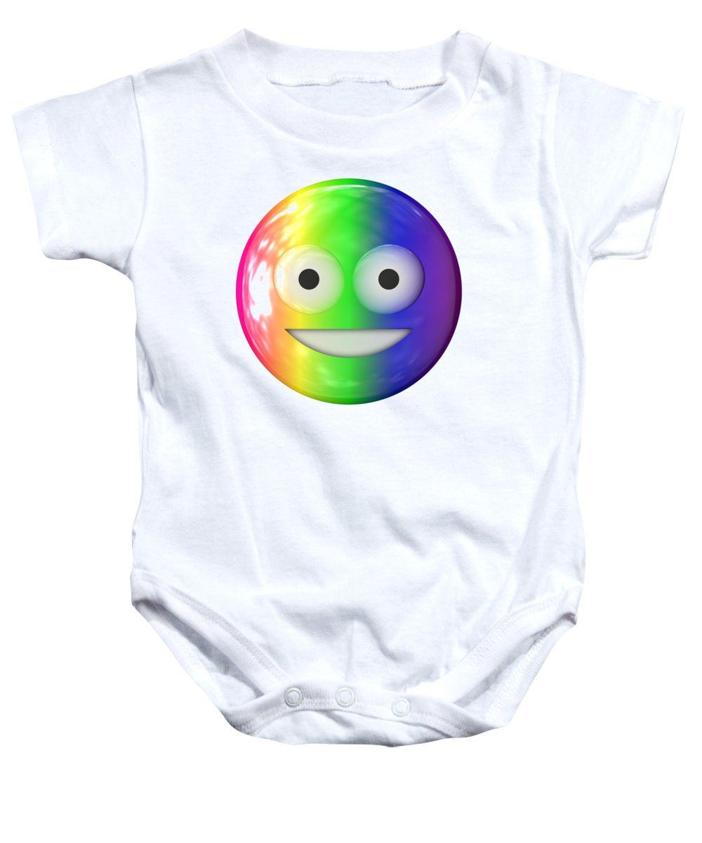 Happy Baby Onesie featuring the digital art Emoticon Plastic Face by Miroslav Nemecek