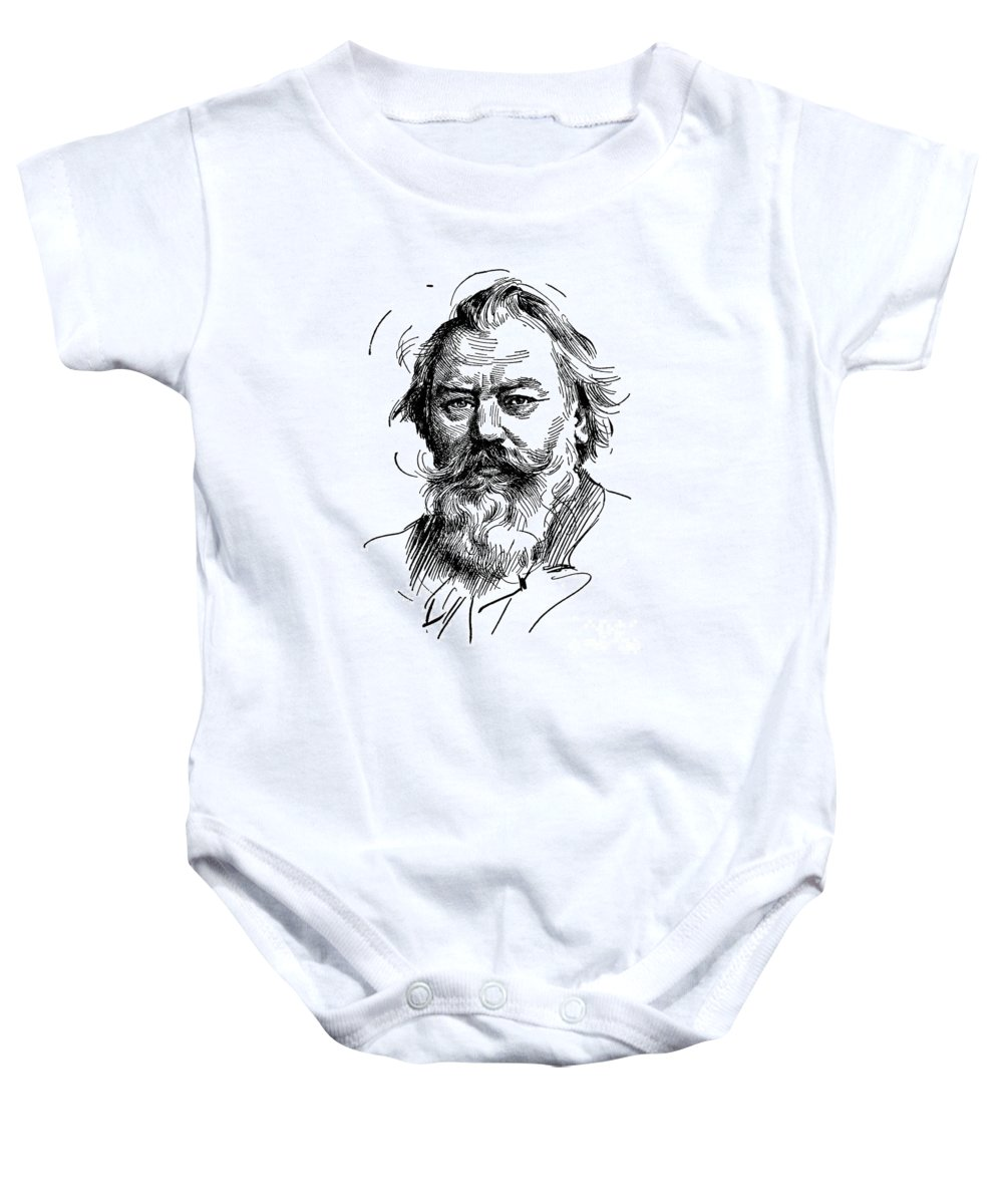 19th Century Baby Onesie featuring the drawing Johannes Brahms 1833-1897 by Granger