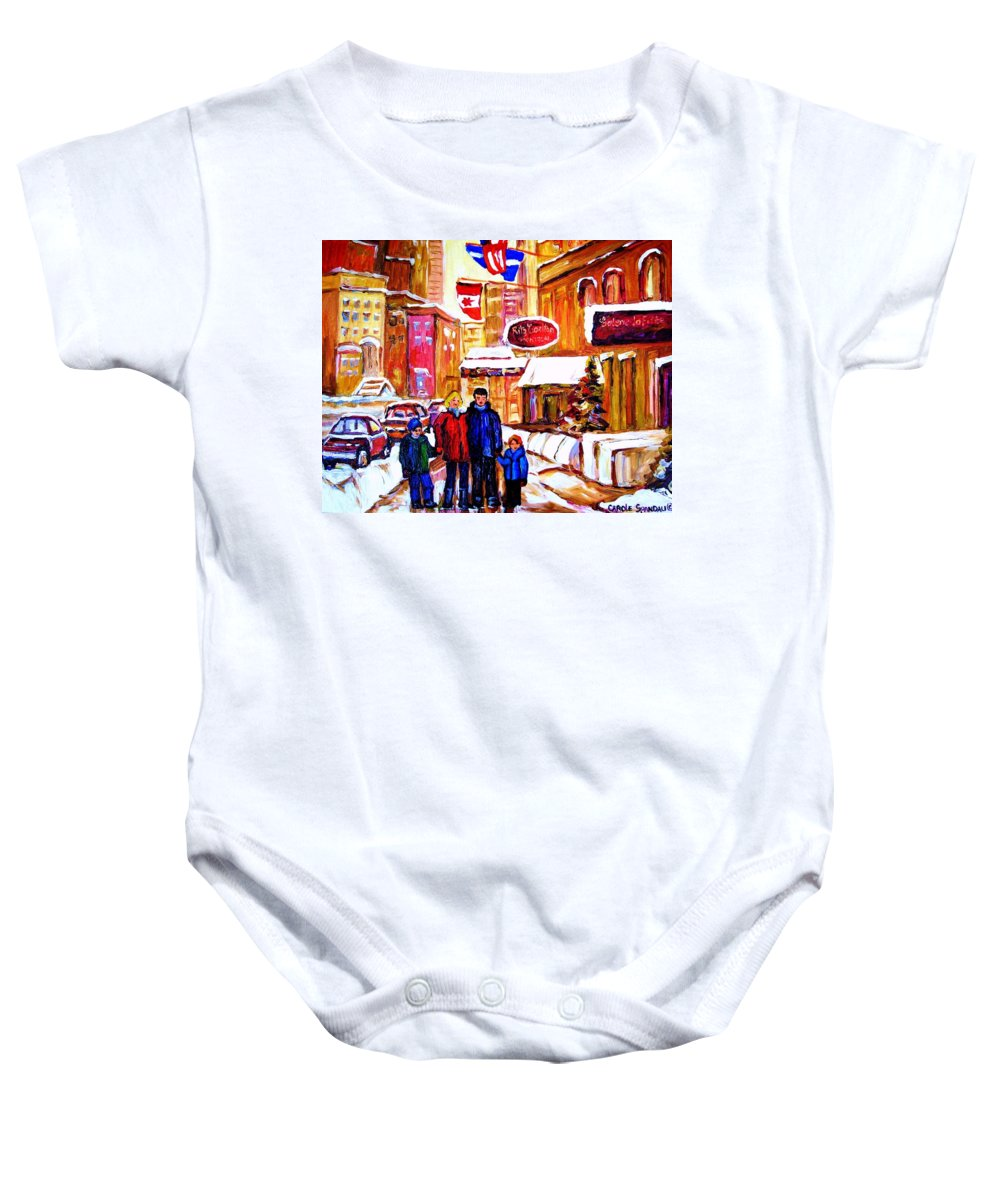 Montreal Baby Onesie featuring the painting Montreal Street In Winter by Carole Spandau