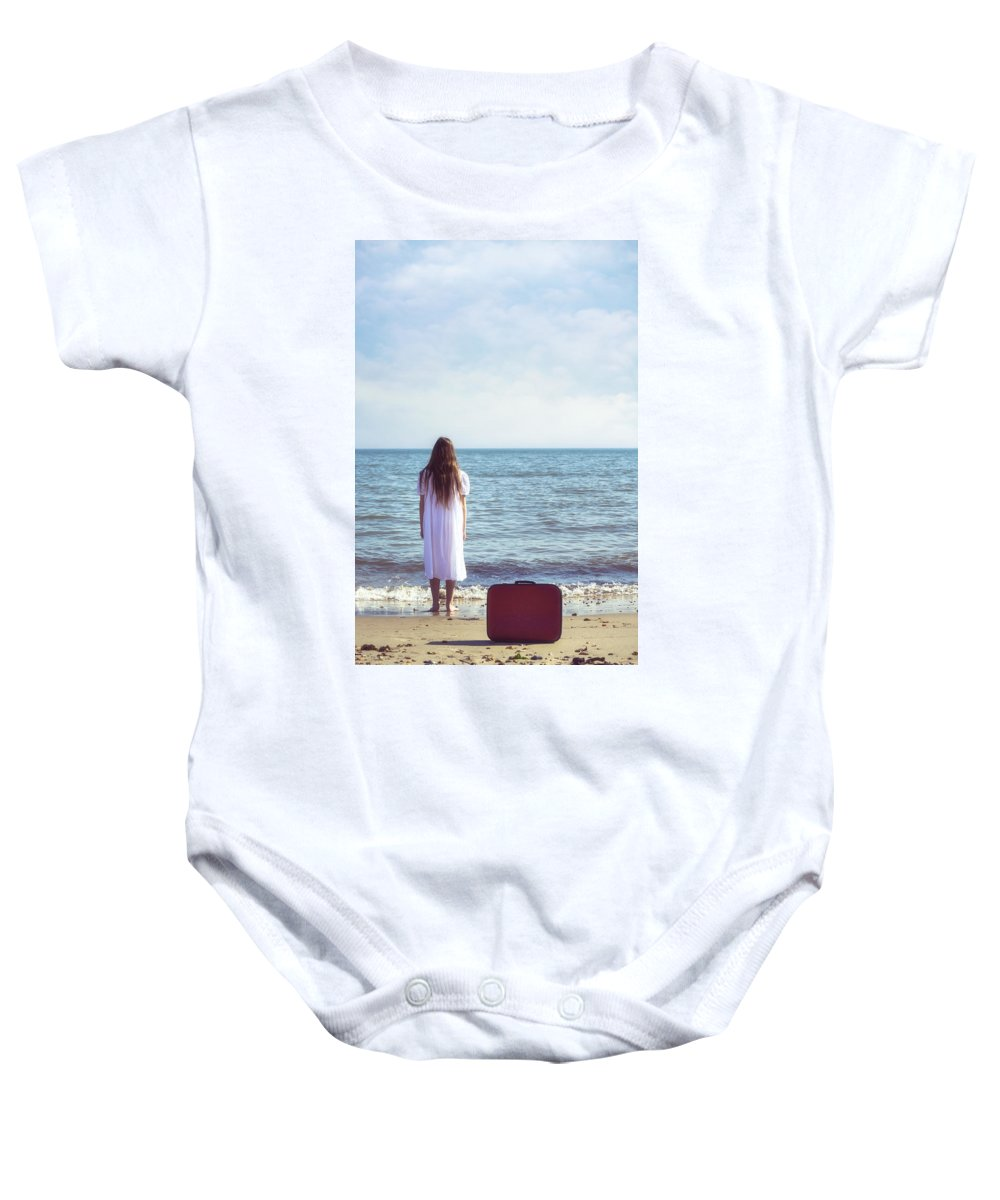 Girl Baby Onesie featuring the photograph Red Suitcase by Joana Kruse