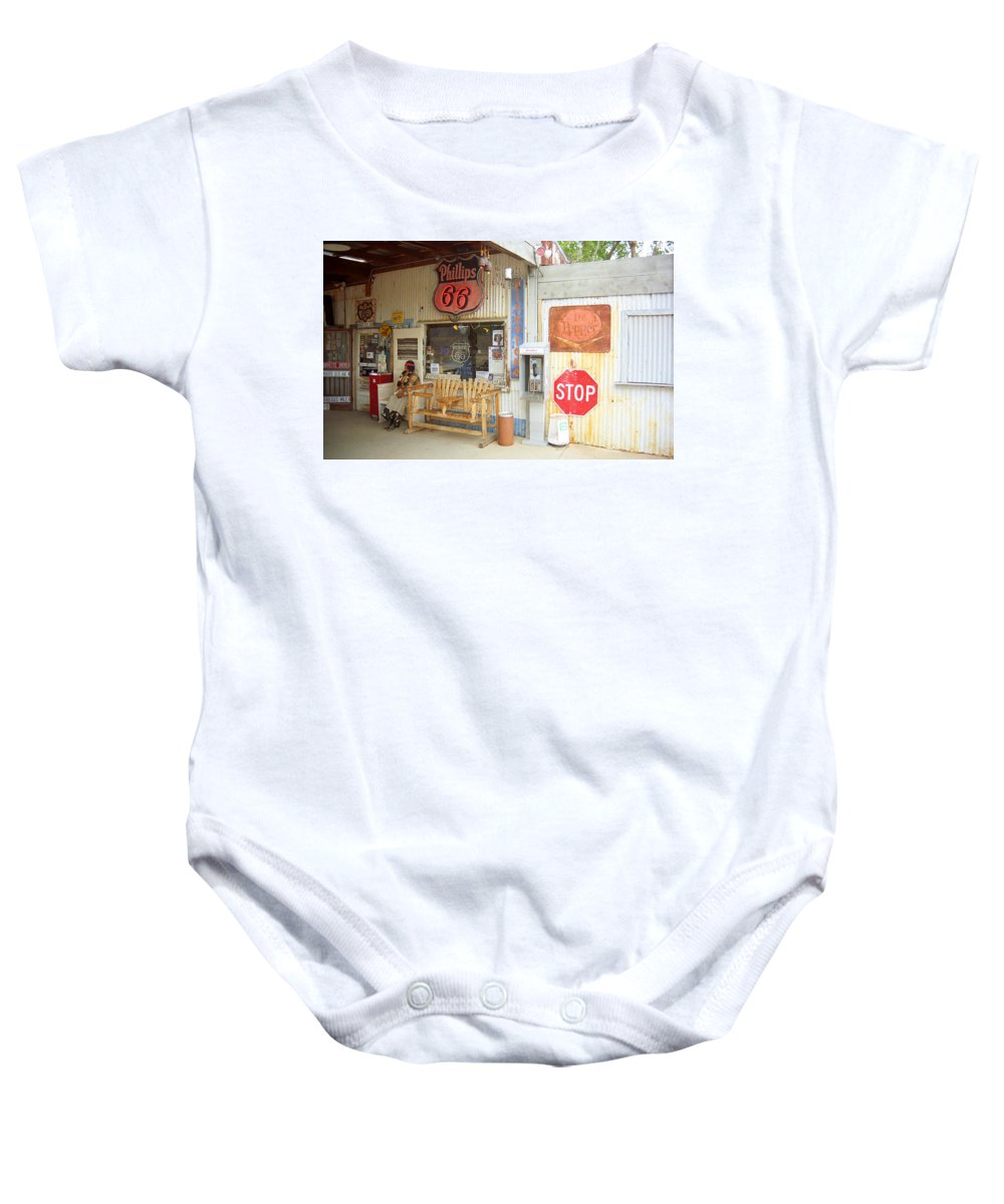 66 Baby Onesie featuring the photograph Route 66 - Hackberry General Store by Frank Romeo