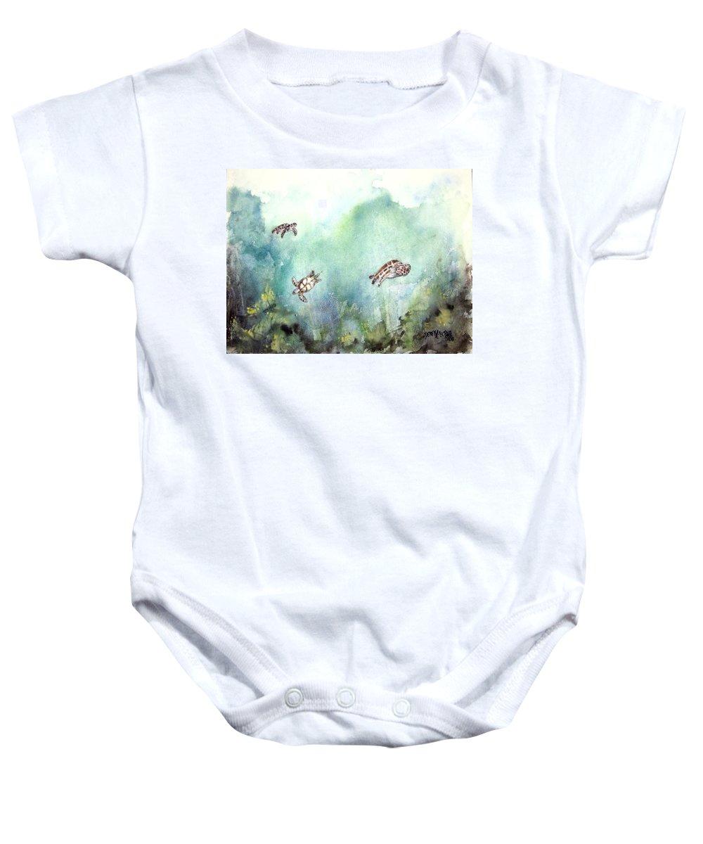 Turtle Baby Onesie featuring the painting 3 Sea Turtles by Derek Mccrea