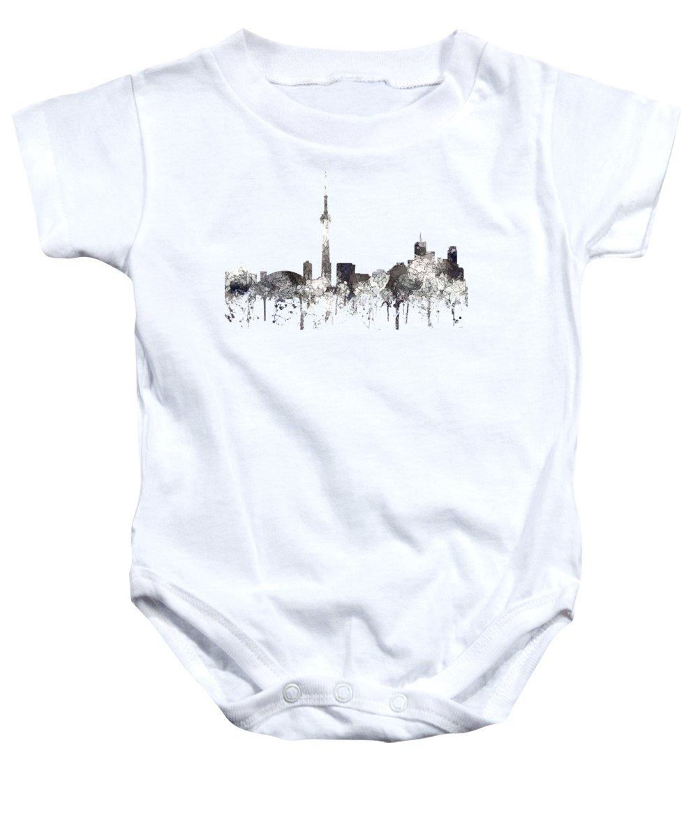Toronto Ont.skyline Baby Onesie featuring the digital art Toronto Ont.skyline by Marlene Watson