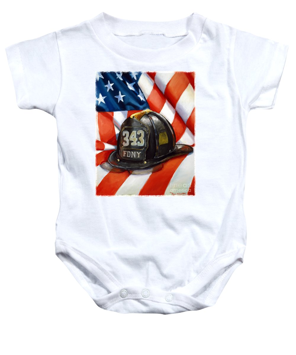 American Flag Baby Onesie featuring the painting 343 by Paul Walsh