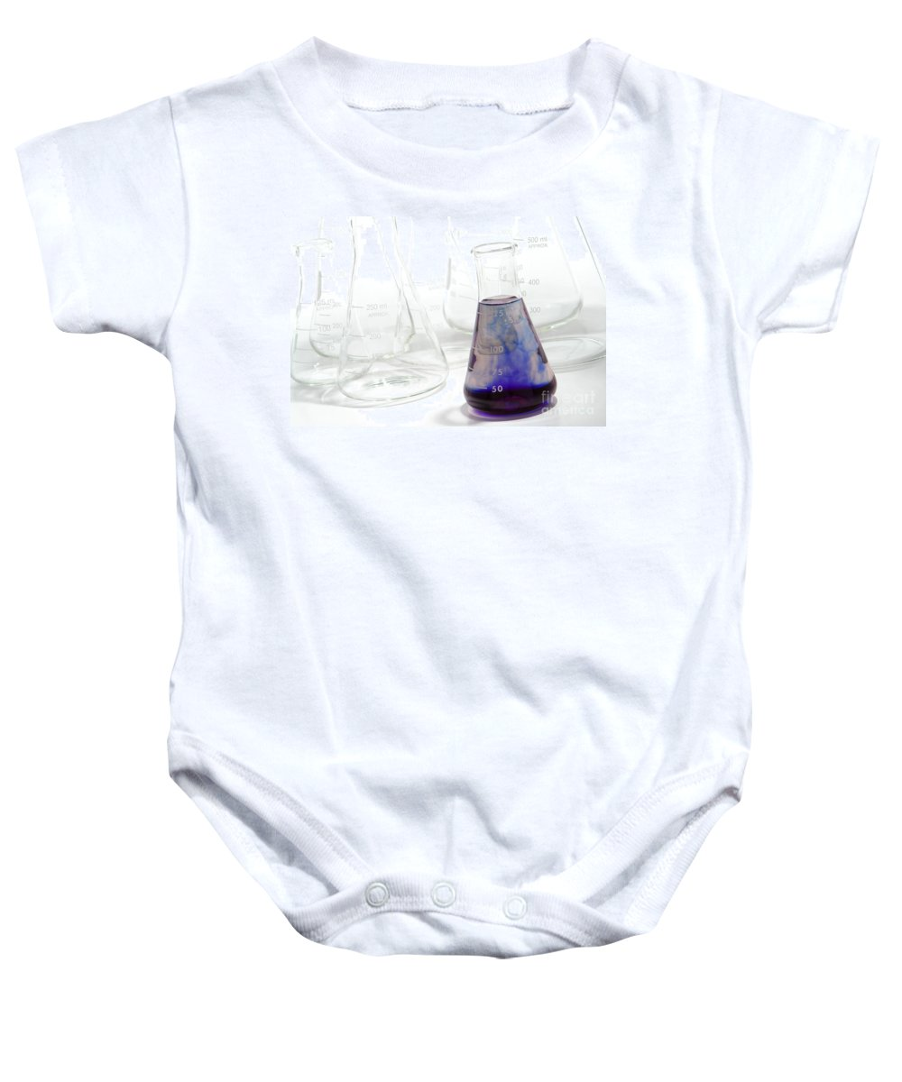 Chemical Baby Onesie featuring the photograph Laboratory Equipment In Science Research Lab by Olivier Le Queinec