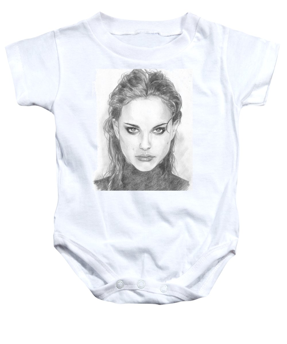 #natalie Baby Onesie featuring the drawing Natalie In Black by Kristopher VonKaufman