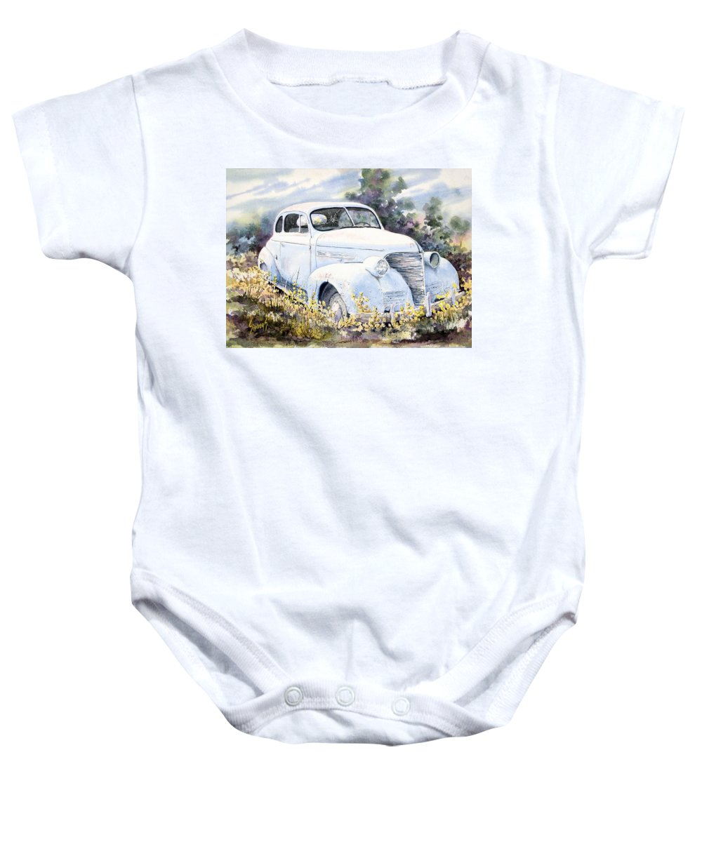 Automobile Baby Onesie featuring the painting 39 Chevy by Sam Sidders