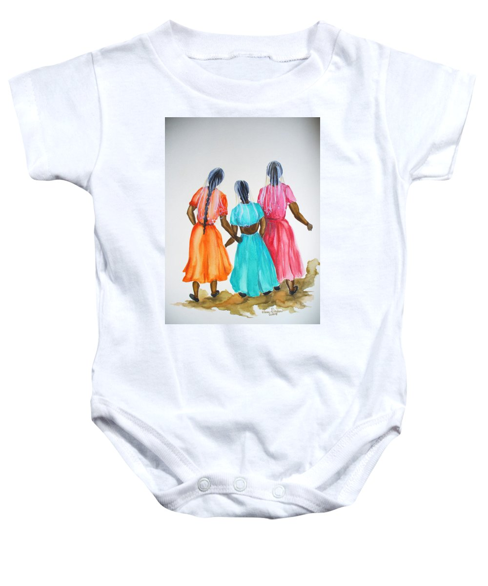 Three Ladies East Indian Baby Onesie featuring the painting 3bff by Karin Dawn Kelshall- Best