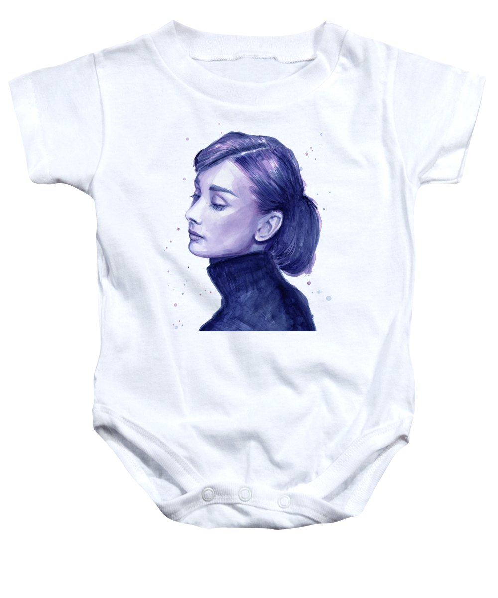 Audrey Baby Onesie featuring the painting Audrey Hepburn Portrait by Olga Shvartsur