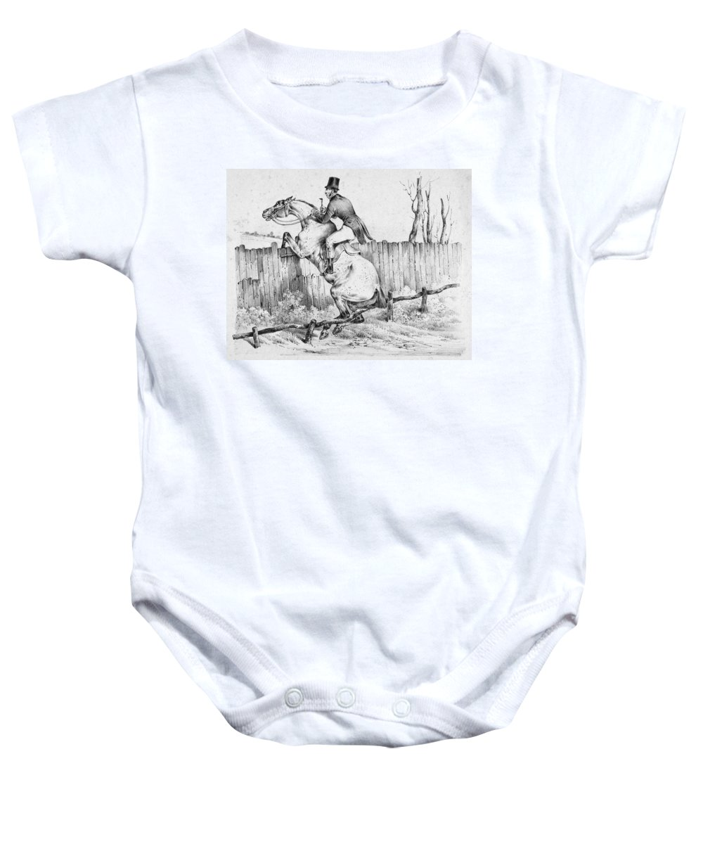 1840 Baby Onesie featuring the photograph Horserider, C1840 by Granger