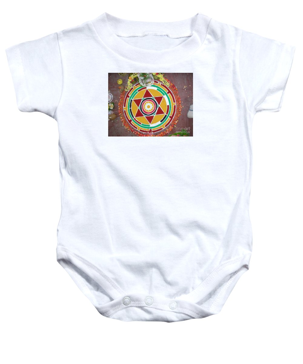 Witchcraft Baby Onesie featuring the digital art Mandala by Frederick Holiday