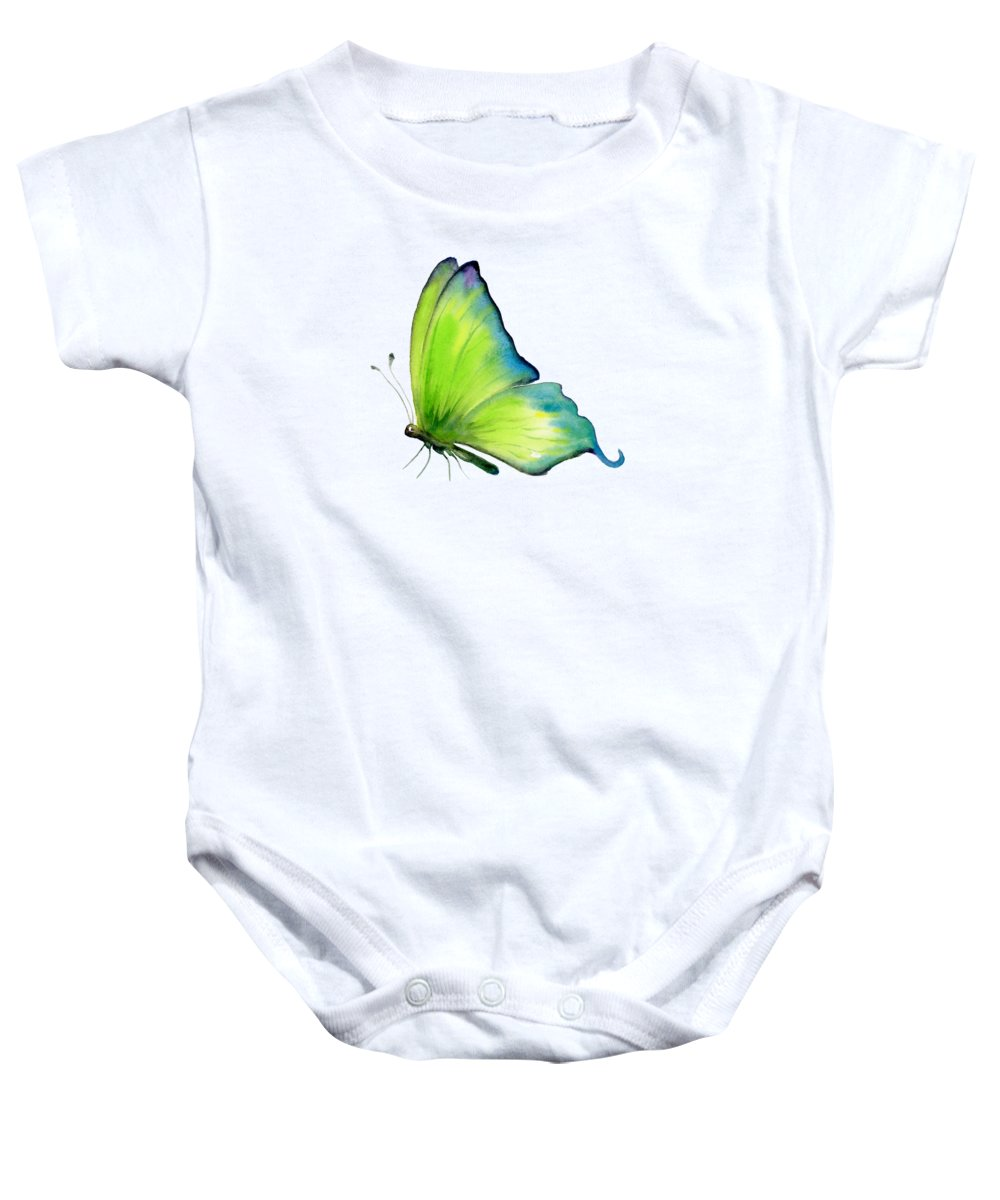 Skip Baby Onesie featuring the painting 4 Skip Green Butterfly by Amy Kirkpatrick