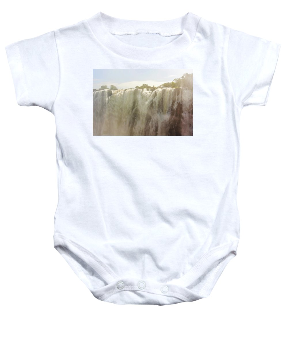 Victoria Falls Baby Onesie featuring the photograph Victoria Falls In Zimbabwe by Marek Poplawski