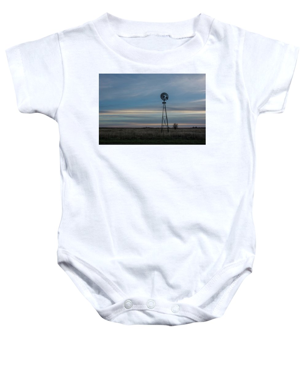 Windmill Baby Onesie featuring the photograph Windmill by Larry Pacey