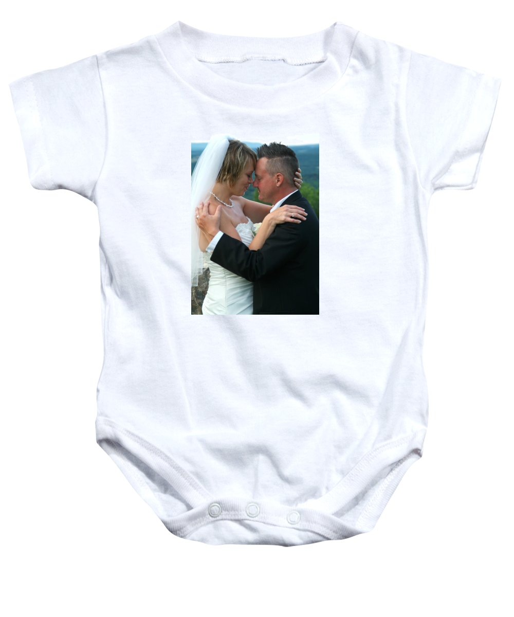 Baby Onesie featuring the photograph Rebecca And David by Michael Dorn