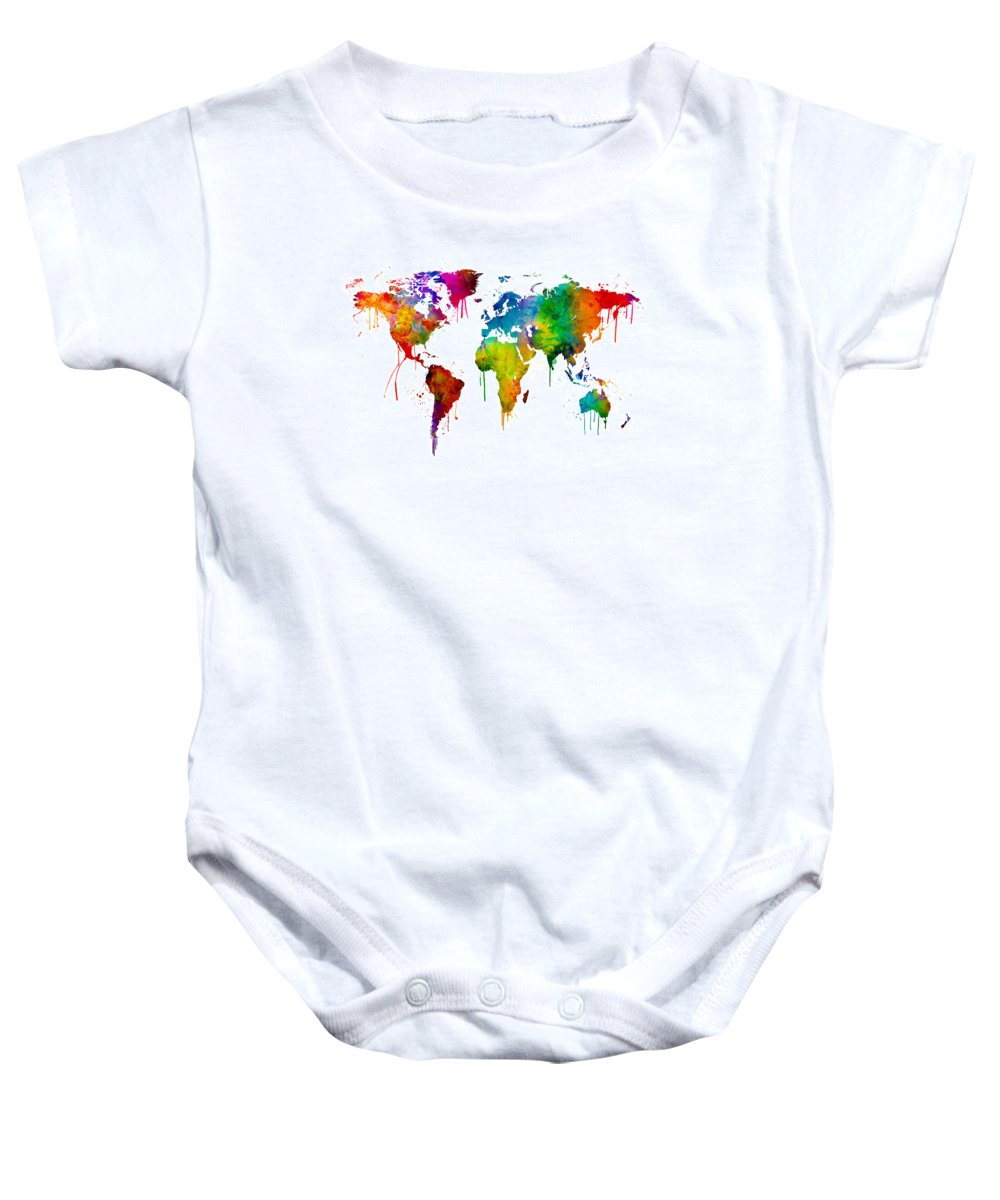 Watercolor map of the world map onesie for sale by michael tompsett a bright and colorful watercolor world map baby onesie featuring the digital art watercolor map gumiabroncs Choice Image