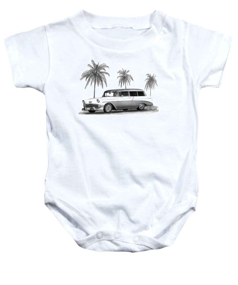1957 Chevrolet Wagon Baby Onesie featuring the drawing 56 Chevy Wagon by Peter Piatt