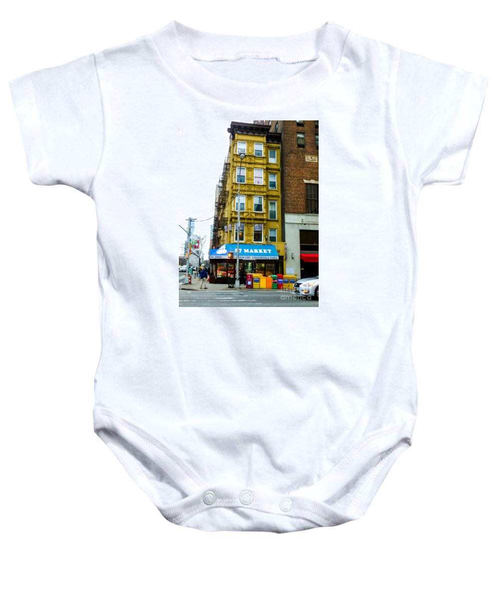 This Is The 57 Street Market In New York City Baby Onesie featuring the photograph 57 Market New York City by William Rogers
