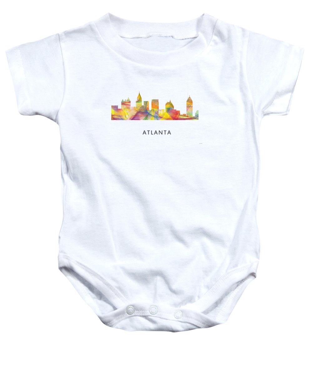 Atlanta Georgia Skyline Baby Onesie featuring the digital art Atlanta Georgia Skyline by Marlene Watson