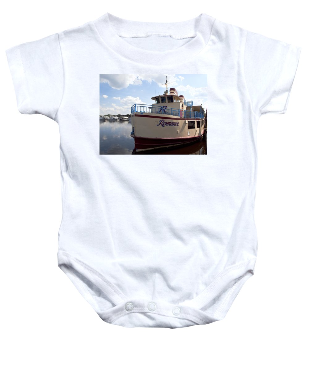 Lighthouse Baby Onesie featuring the photograph Lake Monroe At The Port Of Sanford Florida by Allan Hughes