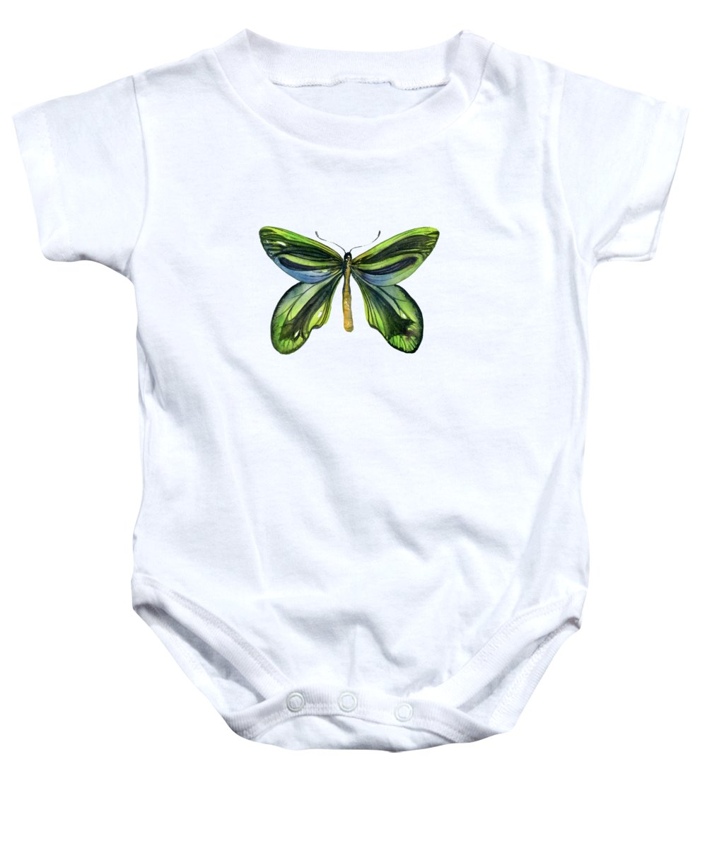 Queen Alexandra Butterfly Baby Onesie featuring the painting 6 Queen Alexandra Butterfly by Amy Kirkpatrick