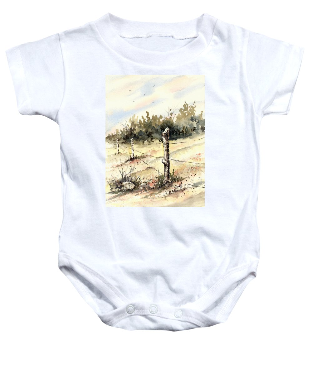 Baby Onesie featuring the painting 6th Grade Fence by Sam Sidders
