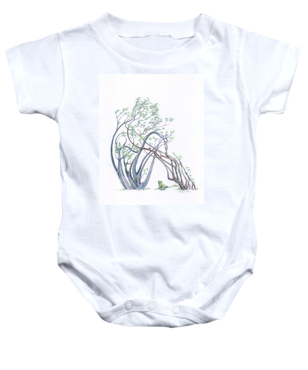 Mark Johnson Toronto Artist Baby Onesie featuring the drawing The Wistful Prince Re-imagined by Mark Johnson