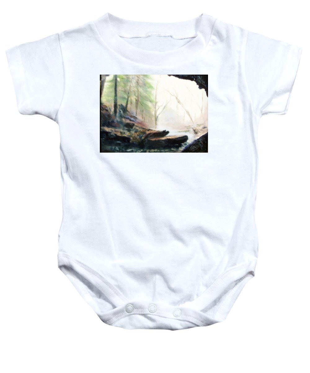 Cave Baby Onesie featuring the painting A Bears View by Gail Kirtz