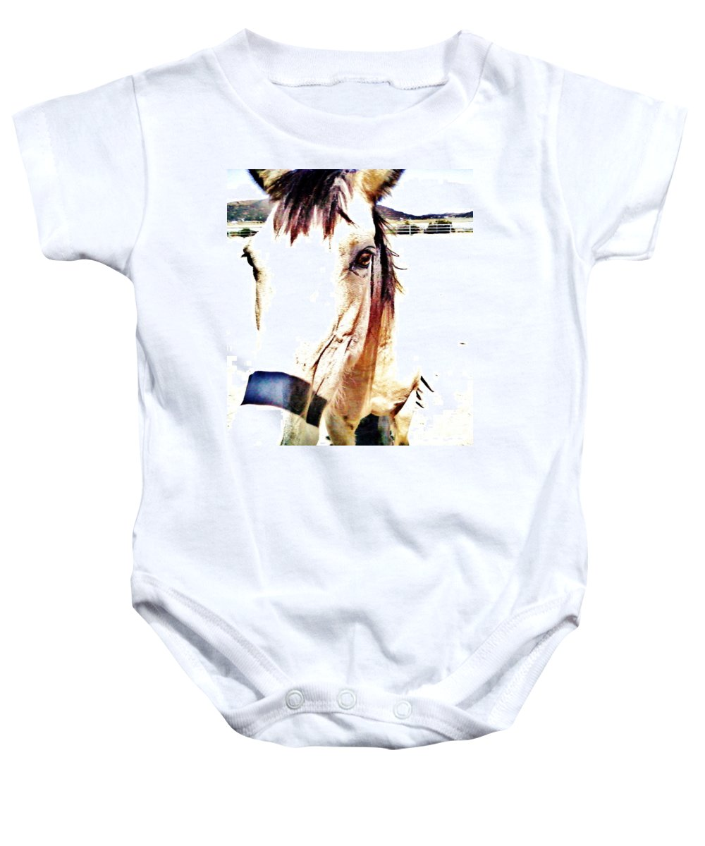 Horse Baby Onesie featuring the photograph A Friend Loves At All Times by Jamey Balester