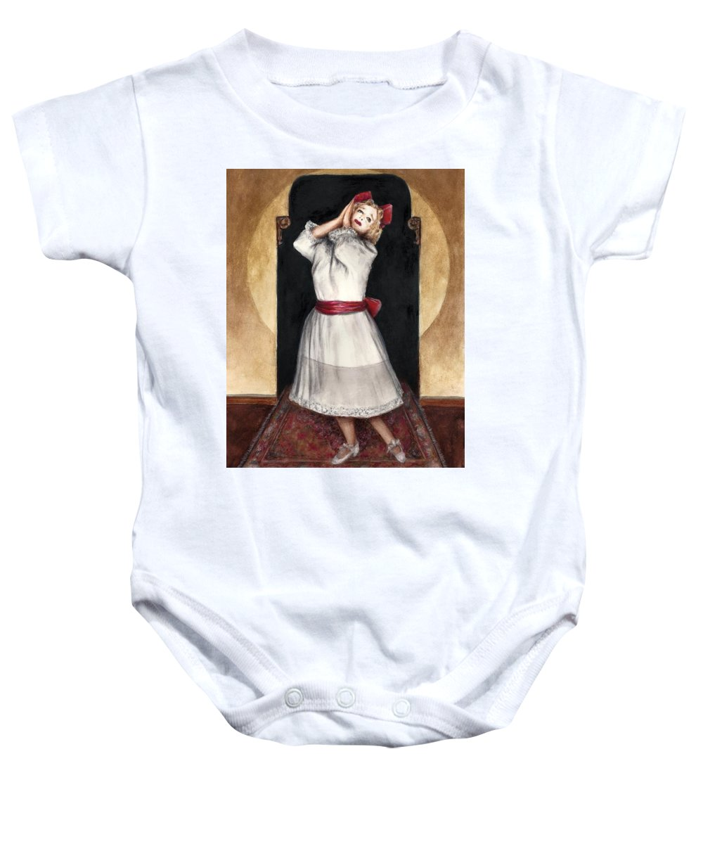 Baby Jane Bette Davis Bruce Lennon Art Illustration Baby Onesie featuring the painting A Letter To Daddy by Bruce Lennon
