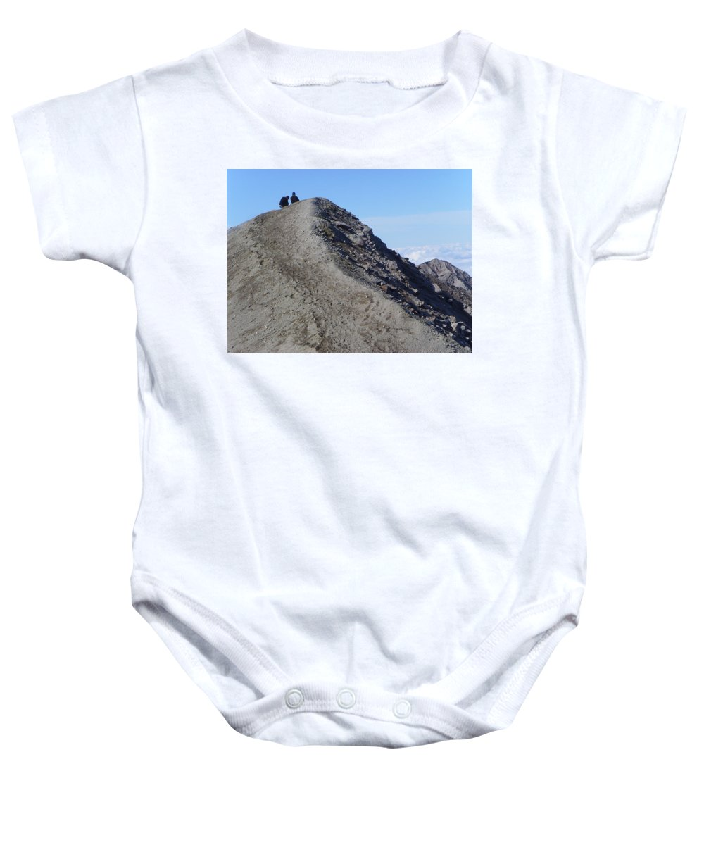Mt St Helens Baby Onesie featuring the A Moment Together by Jeff Swan