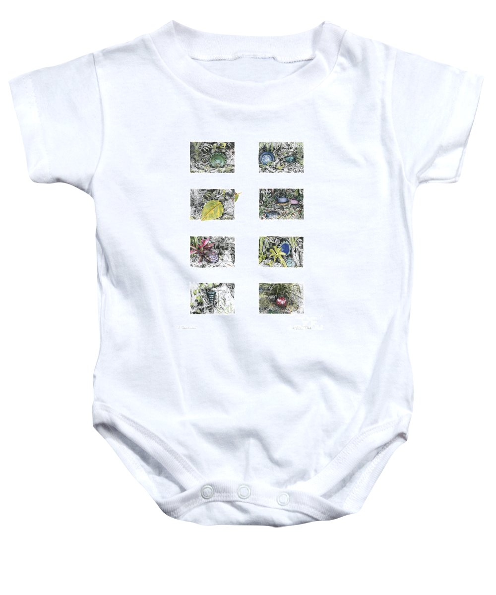 Tropical Baby Onesie featuring the drawing A Potters Garden by Kerryn Madsen-Pietsch