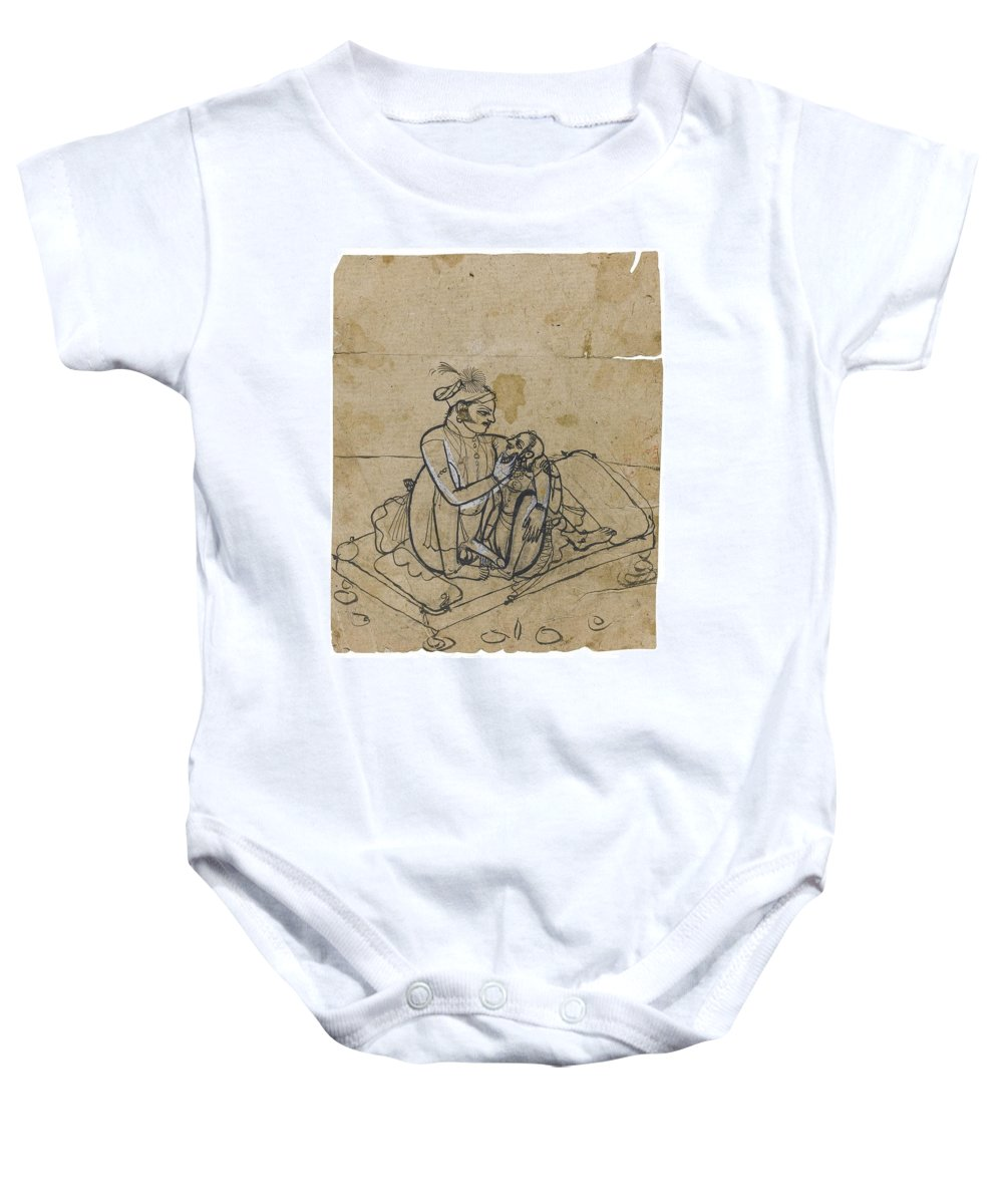 A Prince With His Mistress On A Day-bed Baby Onesie featuring the painting A Prince With His Mistress by Eastern Accents