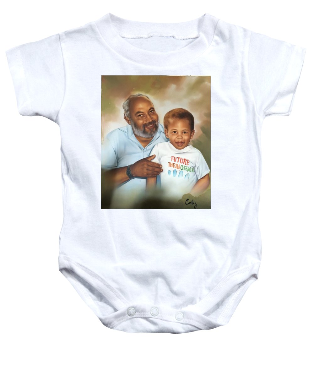 Grandfather And Grandson Baby Onesie featuring the painting A Proud Moment by Carlaj Sanders