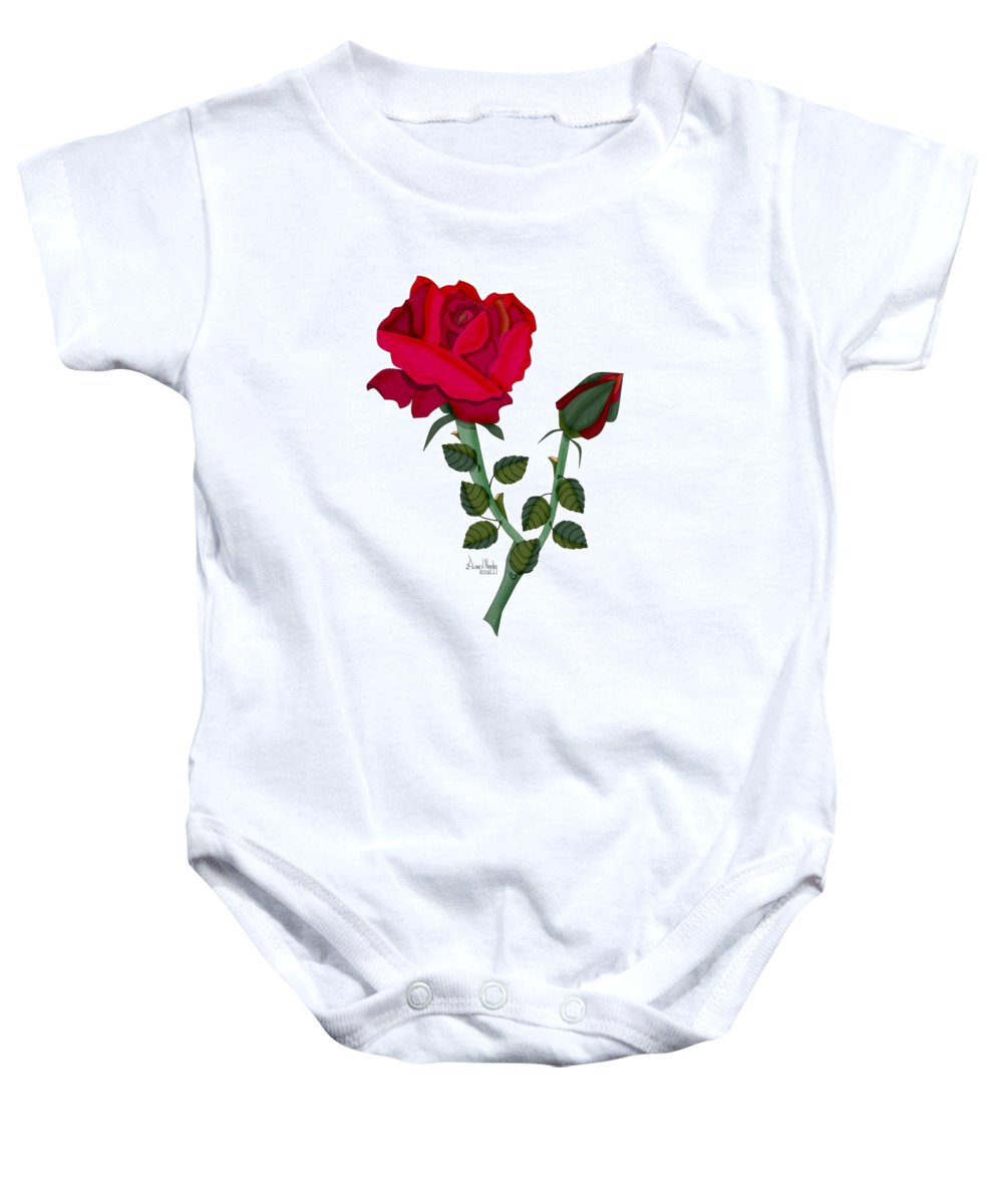 Rose Baby Onesie featuring the painting A Red Rose Blooms In Winter by Anne Norskog